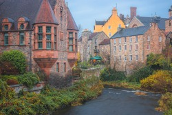 The quaint and historic 19th century architecture of Dean Village along the Water of Leith in Edinburgh, Scotland.
