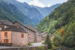The quaint French mountain village of Couflens in Salau of the Midi-Pyrenees in southwest France.