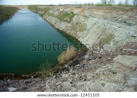 The quarry with illegal trash