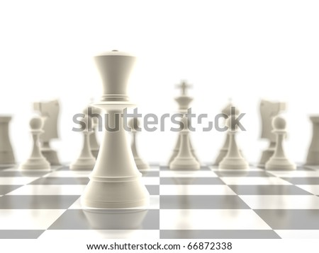 The queen chess piece standing infront of the rest of the pieces