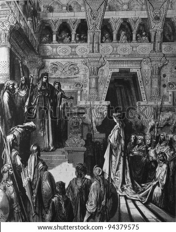The Queen of Sheba visiting Solomon. 1) Le Sainte Bible: Traduction nouvelle selon la Vulgate par Mm. J.-J. Bourasse et P. Janvier. Tours: Alfred Mame et Fils. 2) 1866 3) France 4) Gustave Doré