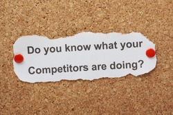 The question Do You Know What Your Competitors Are Doing on paper pinned to a cork notice board