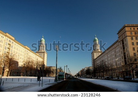 "The ""gate of Frankfurt"" in Berlin, historic buildings with the two famous towers - stock photo"