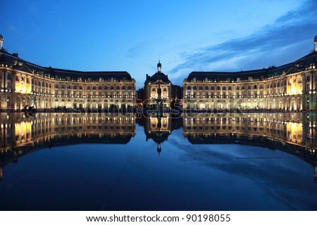 "The ""Place de la Bourse"" in Bordeaux was designed by the royal architect Jacques Ange Gabriel in 1775 - stock photo"