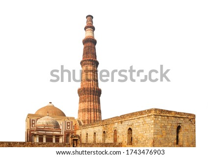 The Qutb Minar isolated on white background. Also spelled as Qutub Minar, or Qutab Minar, It is a minaret that forms part of the Qutb complex in Delhi, India