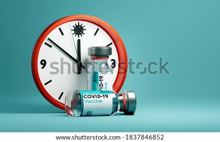 The Race to find a Covid-19 SARS-Cov2 vaccine as cases around the world grow. Medical research concept with a clock and vials of COVID-19 vaccine. 3D illustration.