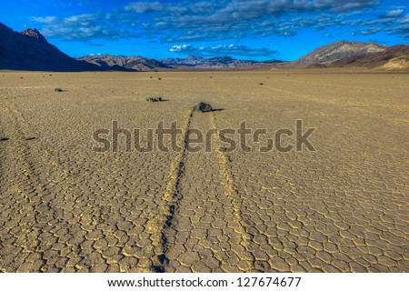 The Racetrack and mysterious moving rocks, Death Valley National Park, California