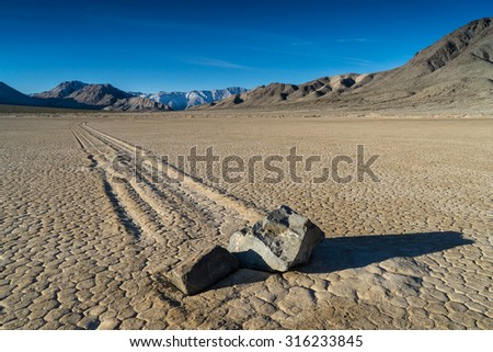 The Racetrack Playa, or The Racetrack, is a scenic dry lake with \