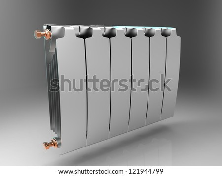the radiator on a gray background