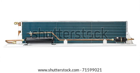 The radiator unit to use in the air condition in the bus  covered by fan and housing that called condenser unit - stock photo