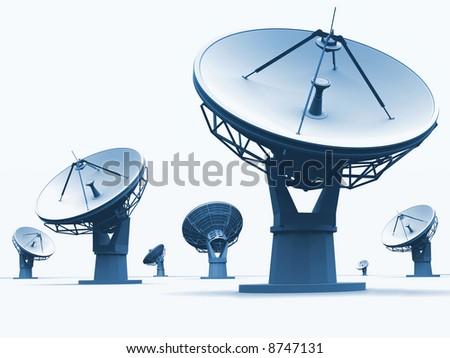 The radio-telescopes on white background - stock photo