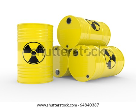 The radioactive barrels on a white background