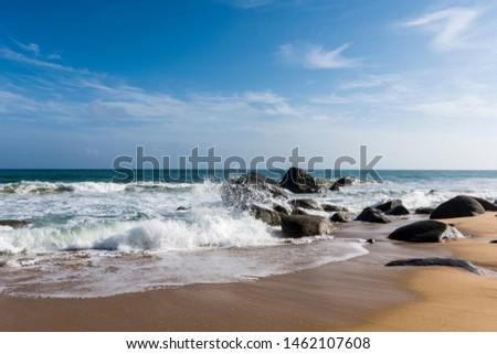 The raging Hainan Wanning Perfume Bay coast