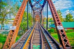 The railroad bridge located at the downtown Augusta, GA River Walk