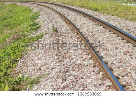 The railroad curve is forward Lamphun province, Thailand  #1069533065