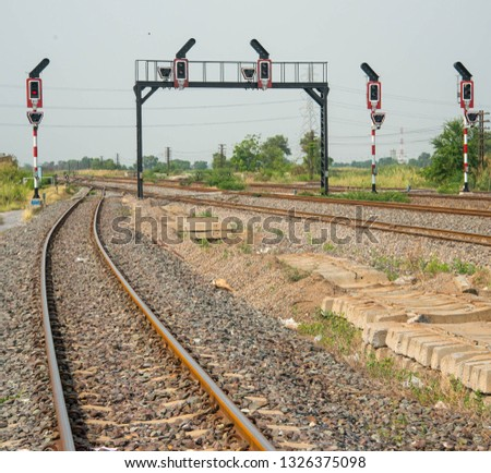 The railway signalling poles and light #1326375098