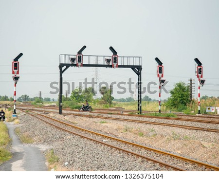 The railway signalling poles and light #1326375104