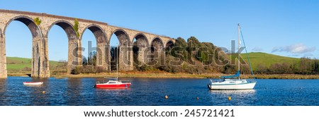 The 1908 railway viaduct at St Germans Cornwall England UK Europe