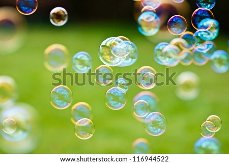 The rainbow bubbles from the bubble blower #116944522