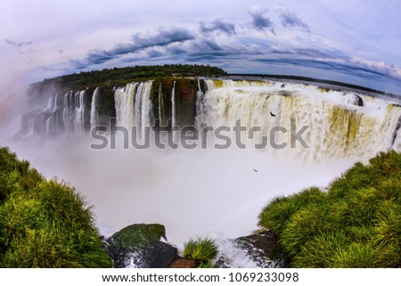 The rainy season. Devil's Throat is the most grandiose part of the Iguazu Falls. Andean condors fly above the roaring water. Concept of active and photographic tourism #1069233098