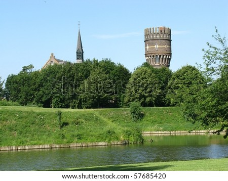 The rampart and the fortification canal of Hellevoetsluis in the Netherlands