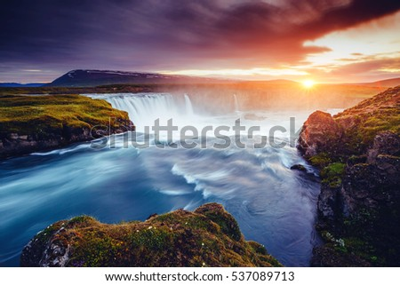 The rapid flow of water powerful Godafoss cascade. Popular tourist attraction. Unusual and gorgeous scene. Location place Bardardalur valley, Skjalfandafljot river, Iceland, Europe. Beauty world. #537089713