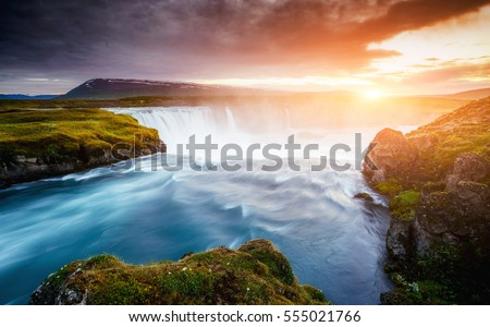 The rapid flow of water powerful Godafoss cascade. Popular tourist attraction. Unusual and gorgeous scene. Location place Bardardalur valley, Skjalfandafljot river, Iceland, Europe. Beauty world. #555021766