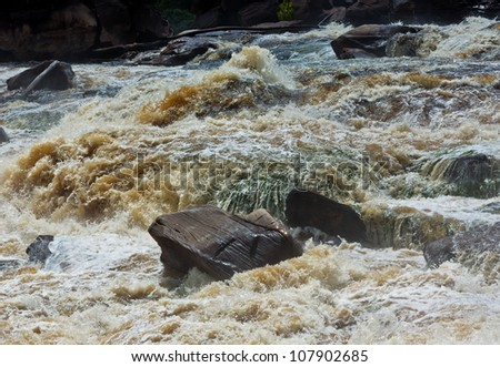 The rapids on the river near the Ucaima waterfalls in Canaima national park - Venezuela