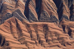 The Raplee Anticline, striped geology seen from above in Utah desert