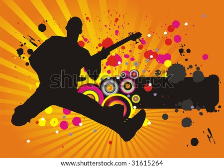 the raster version abstract background with a silhouette of the musician.