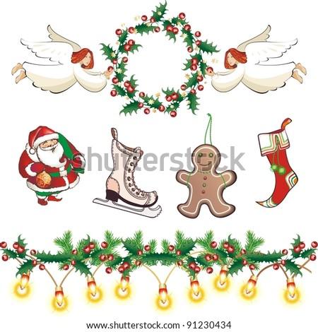 The raster version Vintage Christmas collection. Wreath, angels, Santa, sock, garland and skates.