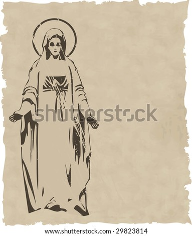 the raster Virgin Mary statue silhouette