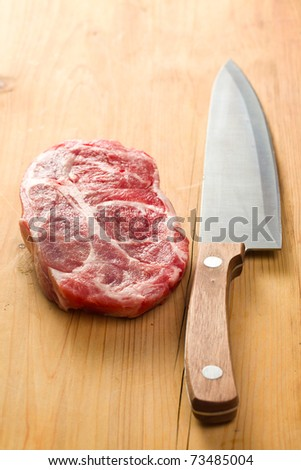 the raw juicy meat with knife