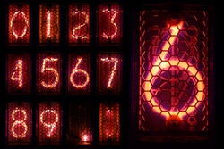 The real Nixie tube indicator a set of decimal digits.