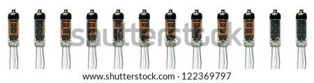 The real numtron filament tube indicator (0,1,2,3,4,5,6,7,8,9,dot)