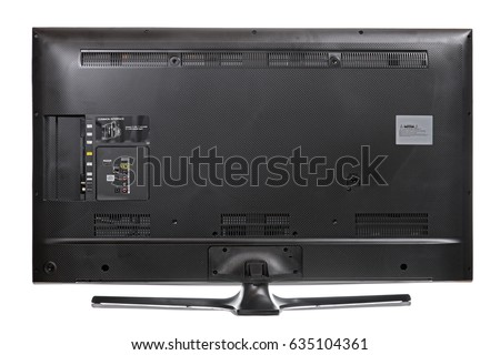 The rear view - backside - with empty connectors. Back of LCD television isolated on a white background.