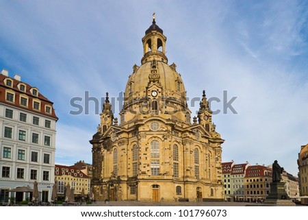The rebuilt  Dresdner Frauenkirche (Church of Our Lady) in the oldtown with a nice background having some light clouds and blue sky