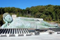 The reclining Buddha of Nanzoin Temple, in Sasaguri, Fukuoka, Japan. The longest existing bronze Buddha statue in the world.