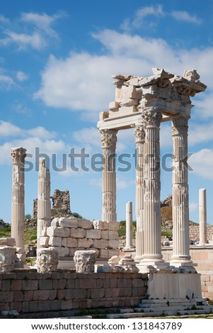 The reconstructed Temple of Trajan at Pergamon, Turkey
