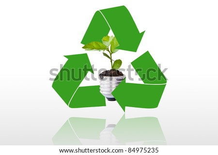 The recycling symbol of arrows surrounding green tree. Go green concept