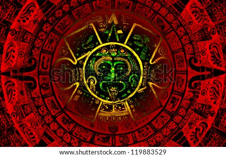 The red and green Mayan calendar predicting  apocalypse on the year 2012