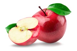 The red apples were cut in half, placed beside another red apple with separate green leaves over white background.