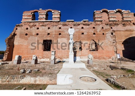 The 'Red Basilica' (Kizil Avlu), also called the Red Hall and Red Courtyard, is a monumental ruined temple in the ancient city of Pergamonin Berma, Turkey.  Stok fotoğraf ©
