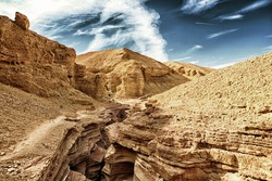 The Red Canyon geological attraction in the Eilat Mountains, Israel (HDR image with Black Gold filter)