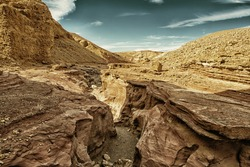 The Red Canyon tourist attraction in  Israel (HDR image, black gold filter)