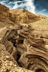 The Red Canyon tourist attraction in the Eilat Mountains, Israel (HDR image, black gold filter)