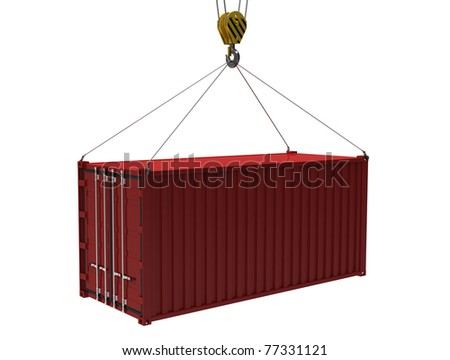 The red cargo container with a hook on a white background