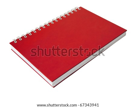 The red cover of close Note book on white