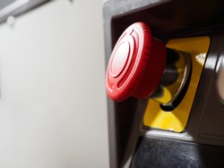 The red emergency button or stop button for Hand press. STOP Button for industrial machine, Emergency Stop for Safety