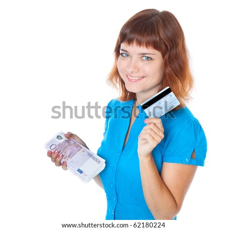 The red-haired young girl with a credit card and a bundle of bank-notes (euro). Isolated of white background
